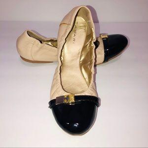 Tahari cream and black Glenda patent leather flats